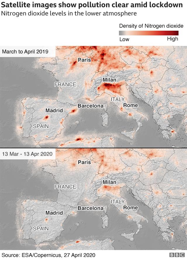 코로나로 인해 경제가 멈춰서면서 유럽 대기오염이 좋아진걸 보여주는 비포, 애프터 위성사진